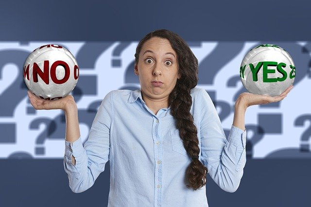 a woman who has yes and no ball